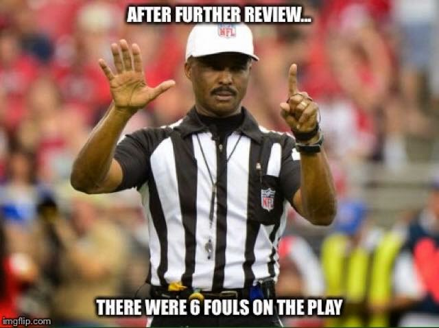 after further review... there were 6 fouls on the play