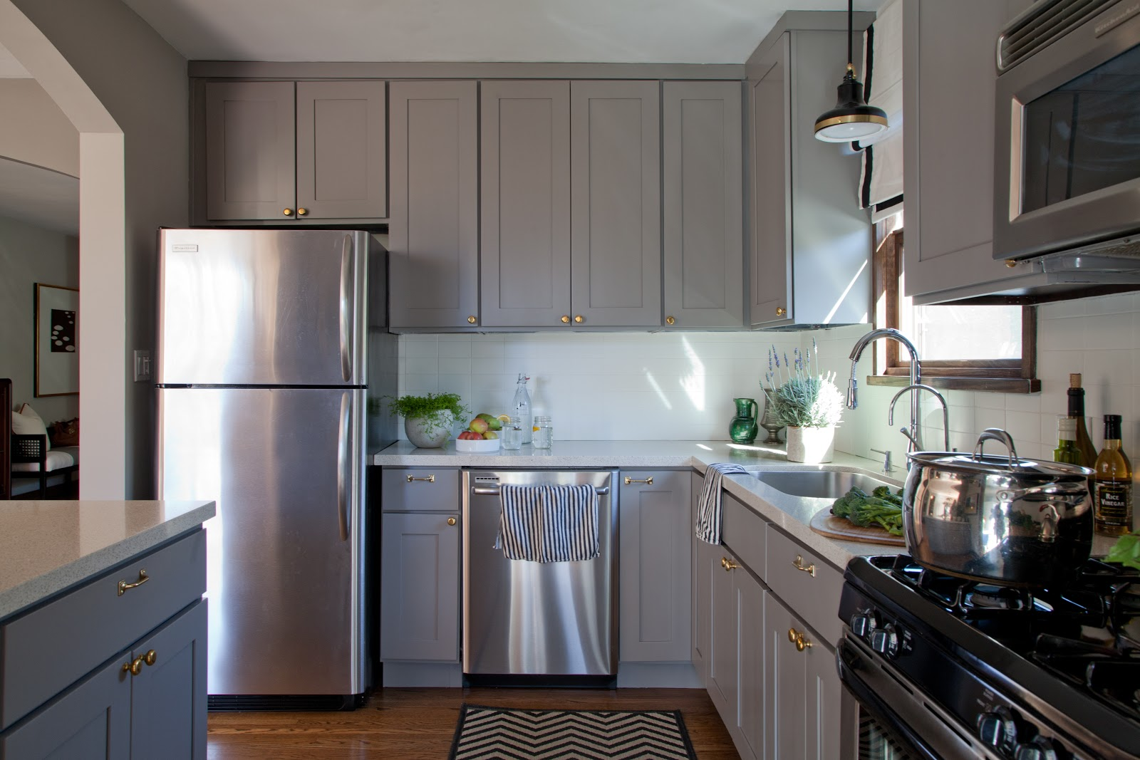 Gray Painted Kitchen Cabinets Rosa Beltran Design Affordable Brass Cabinet Hardware