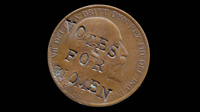 A British one penny coin from 1903 defaced by the Suffragettes