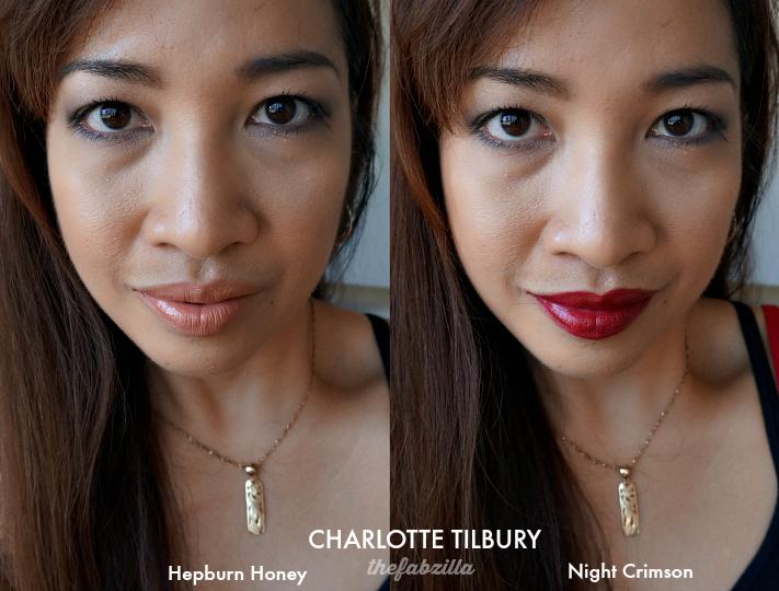 Charlotte Tilbury Kissing Fallen From The Lipstick Tree, Hepburn Honey, Night Crimson, Review, Swatch