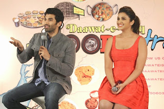 Parineeti Chopra with Deep Neck Red Short Dress and Aditya Roy Kapur at Daawat e Ishq Press Meet