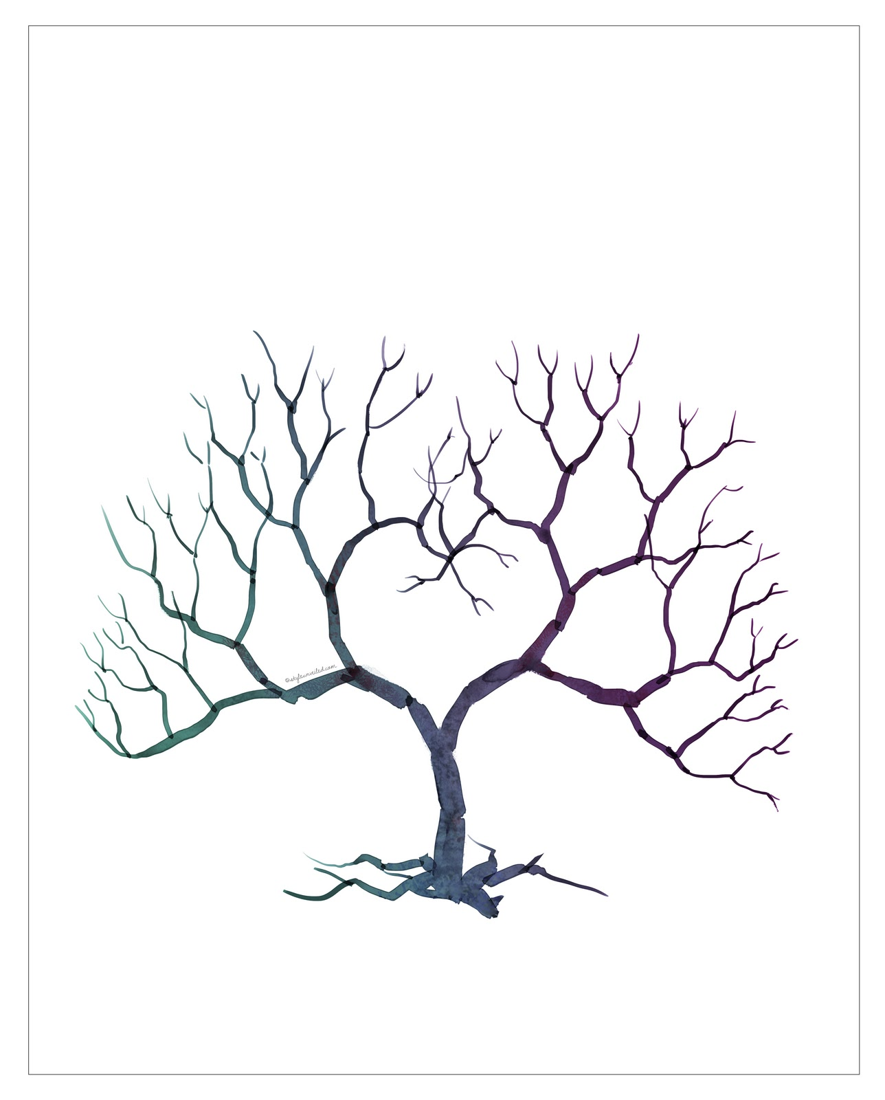 family tree template family tree thumbprint template With family tree thumbprint template
