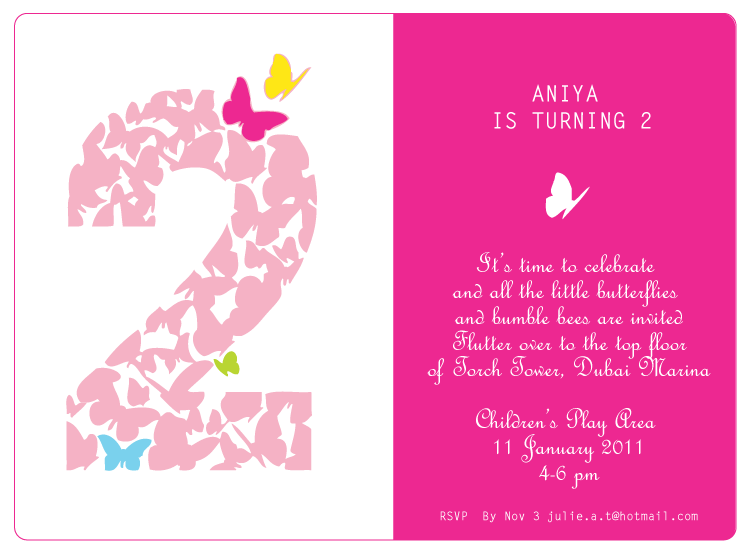 Butterfly Themed Birthday Party Invitations Butterfly Themed 2nd Birthday