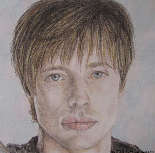 portrait artist, beauty art, original artwork, merlin, merlin art, bbc merlin, king arthur art, bradley james, bradley james art