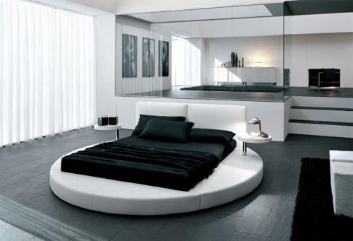 quarto de casal, preto e branco, cama redonda