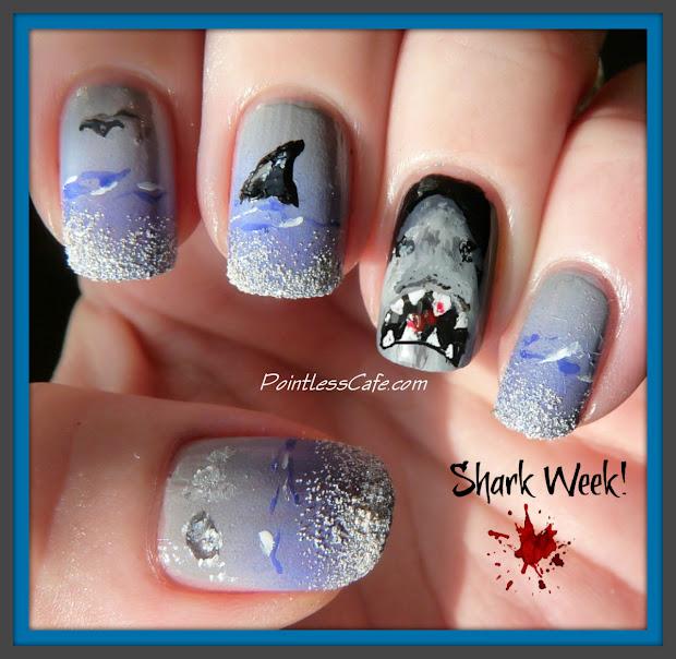 shark week nail art pointless