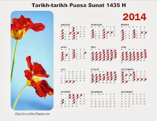 2014 Calendar, Kalendar 2014, Puasa Sunat, Tarikh