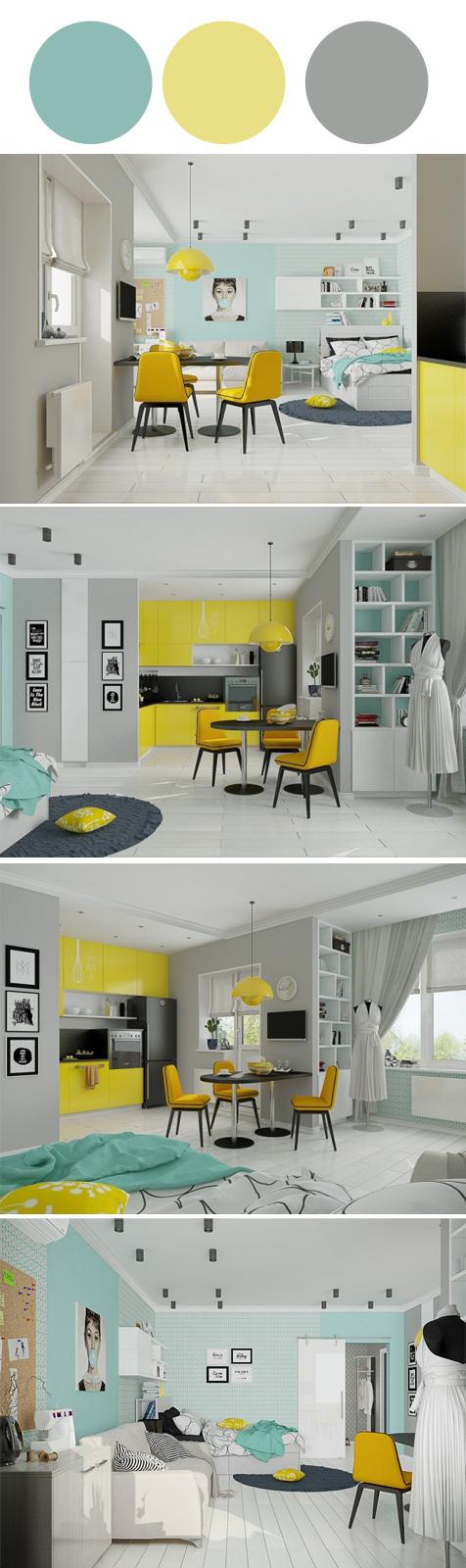 Docoração Apartamento (Loft) com Amarelo, Azul Tiffany e Cinza