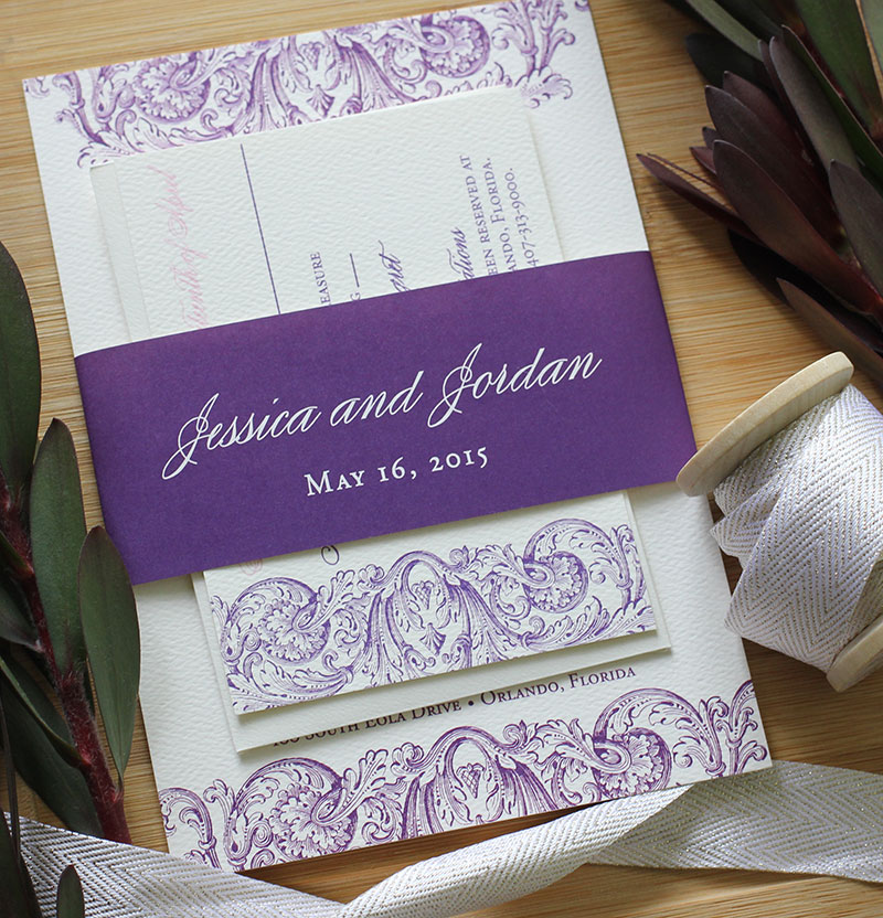 Romantic Pink Amp Purple Wedding Invitations