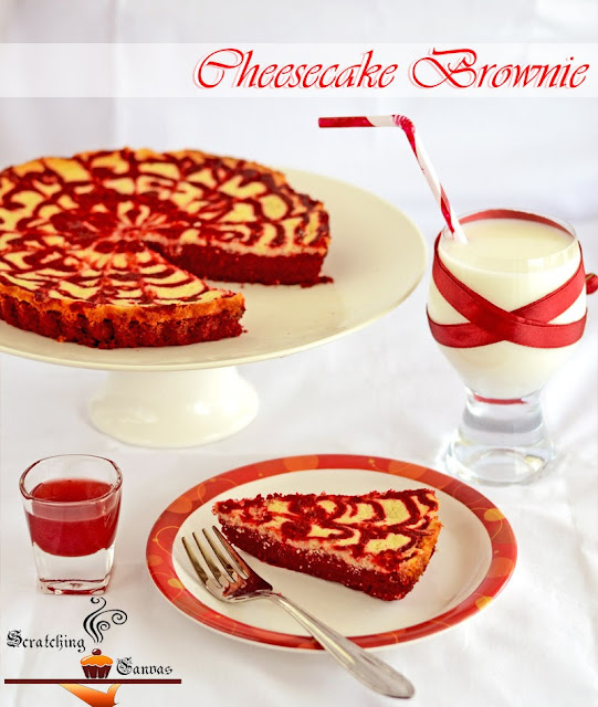 Red Swirl Brownie Cheesecake