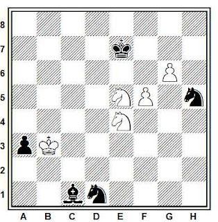 Estudio artístico de ajedrez compuesto por M. Michailov (1º Premio, 1956)