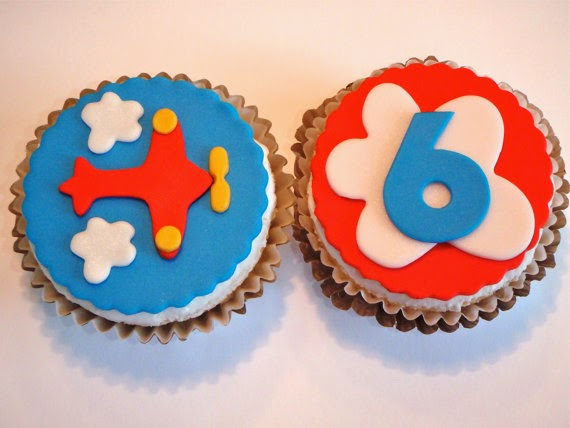 Airplane Edible Fondant Cupcake Topper Decorations- Great for a Boy's Birthday Party red blue yellow