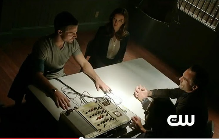 Arrow Damaged Season 1 recaps screencaps Oliver Queen Laurel Lance Detective lie detctor test arrest photos