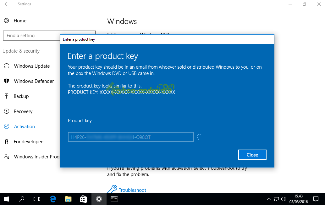 Windows 10 Aktivasi permanent