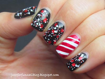 Christmas Glitter design with Wow Cosmetics 358 & China Glaze - Cranberry Splash