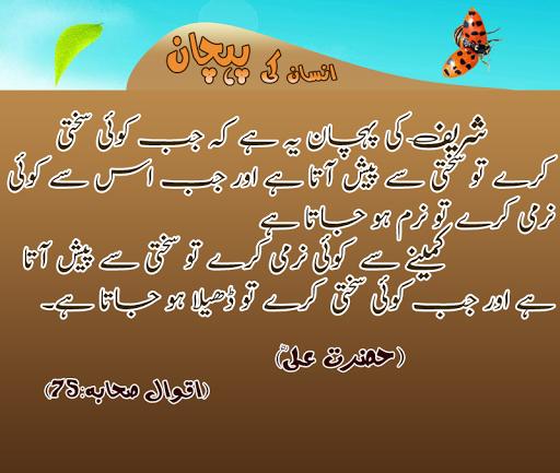 Sharif Aur Kameenay insaan Ki Pahchan - Hazrat Ali RZ Quotes