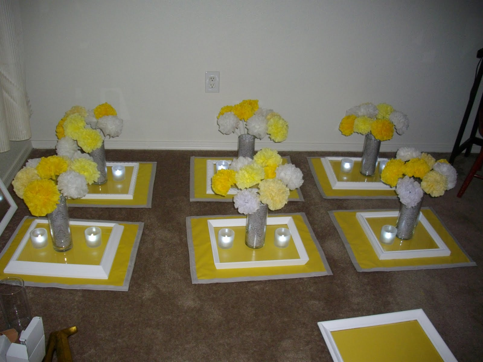 Grey And Yellow Wedding Grey And Yellow Centerpieces