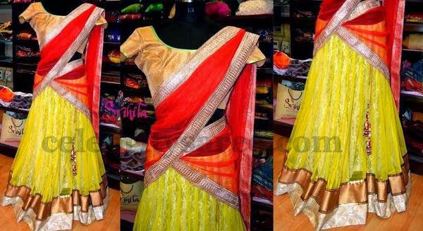 Light Yellow Simple Chic Half Saree