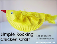 Easter craft, craft for kids, simple craft, paper plate craft, rocking chicken, chicken craft