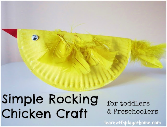 Easter craft, craft for kids, simple craft, paper plate craft, rocking chicken, chicken craft