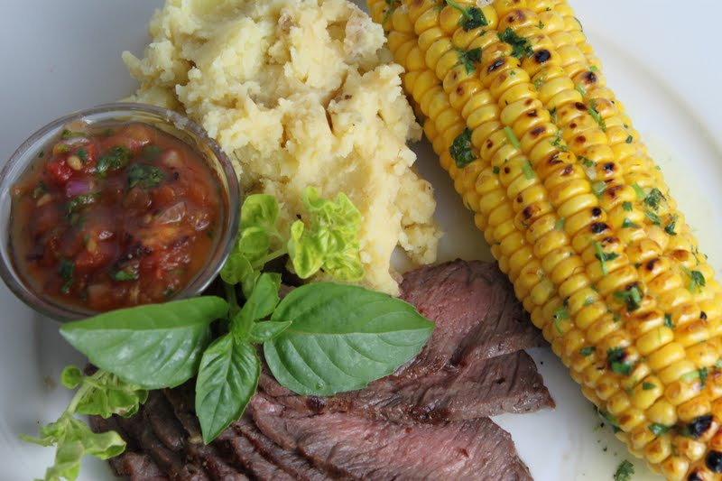 Grill-Roasted Corn with Cilantro-Lime Butter & Skinny Mashed Potatoes ...