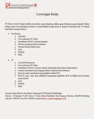 Lowongan kerja resmi PT Kreasi Kotak Megah