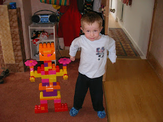 robot made out of mega duplo lego blocks