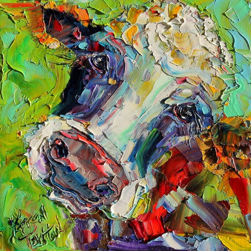 Karen tarlton original oil painting cow whimsy palette for Animal oil paintings