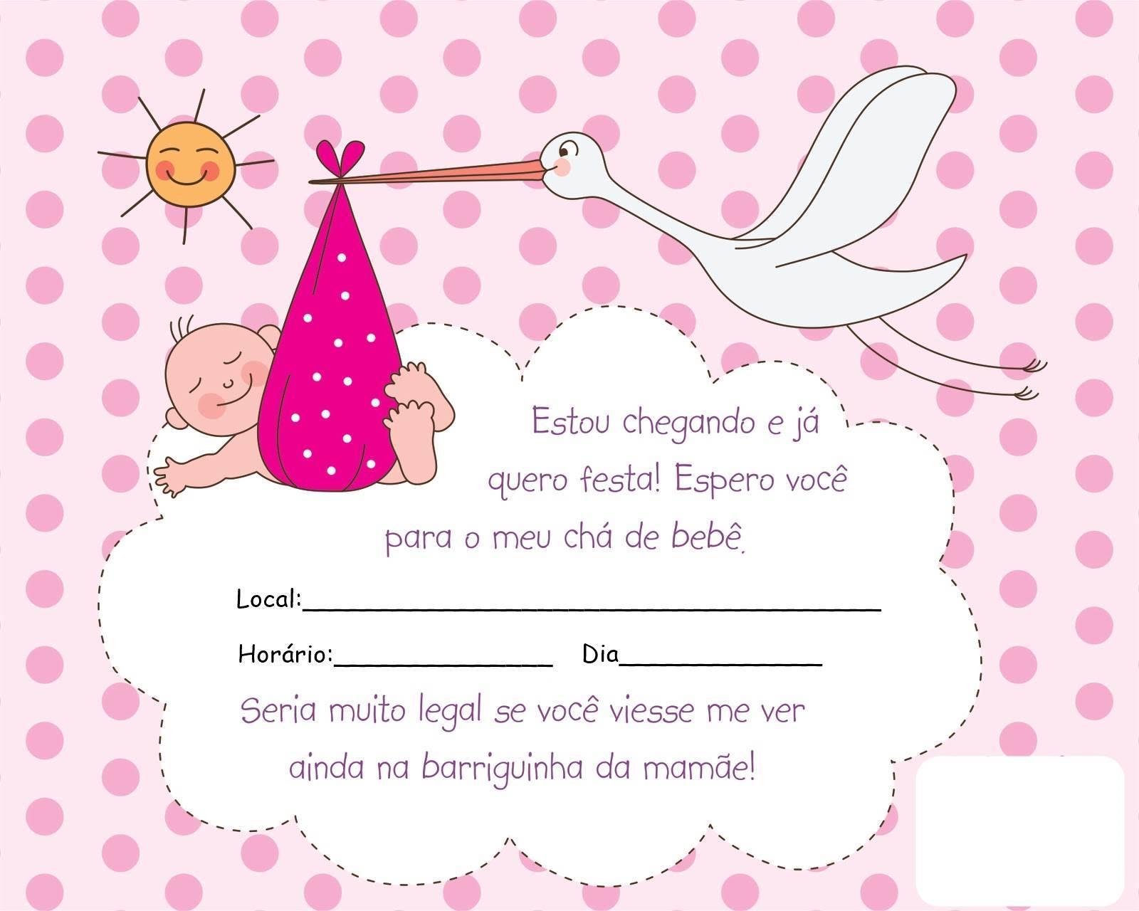 25 Modelos De Convite Para Chá De Bebê Cantinho Do Educador Infantil
