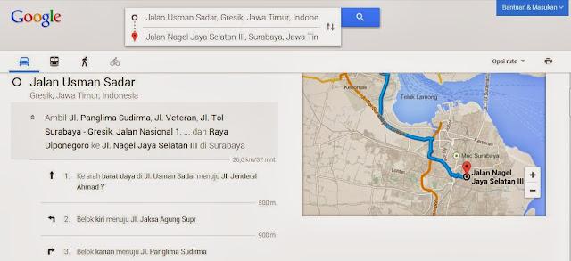 Cara Mengetahui Rute Jalan/Lokasi Dengan Google Maps