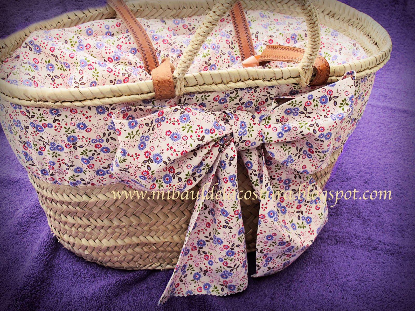 Entre costuras nueva cesta para la playa y telas de la petite cole - Cestas para la playa ...
