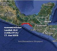 94-E (pot. CARLOTTA) zieht wahrscheinlich nach Chiapas / Oaxaca, Mexiko, Carlotta, aktuell, Mexiko, Hurrikansaison 2012, Pazifische Hurrikansaison, Nordost-Pazifik, Chiapas, Oaxaca, Vorhersage Forecast Prognose, 2012, Juni,