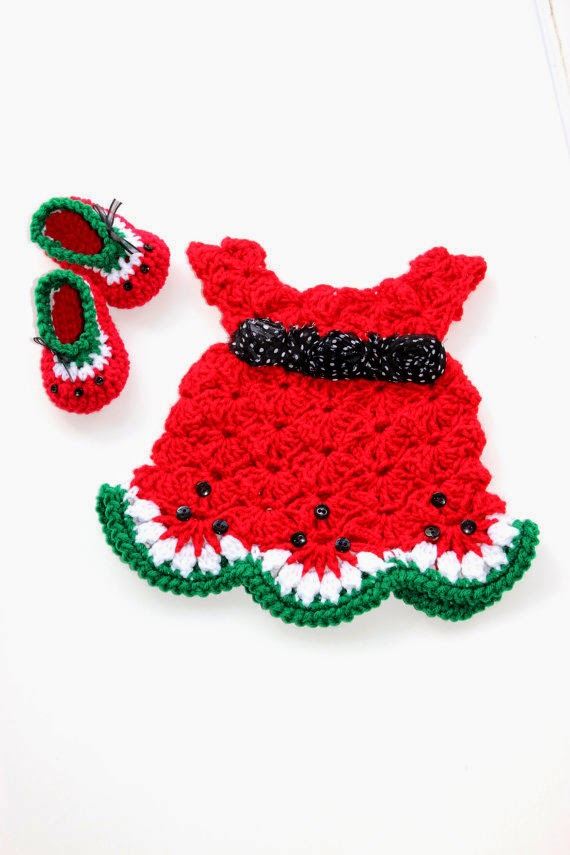 Free Crochet Watermelon Dress Pattern : Krissys Wonders : Baby Oh Baby Watermelon Shoes!