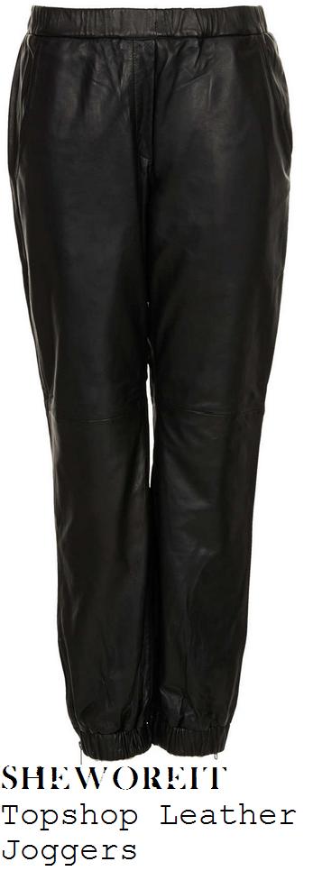 nicole-scherzinger-black-leather-joggers-with-zip-detail-london