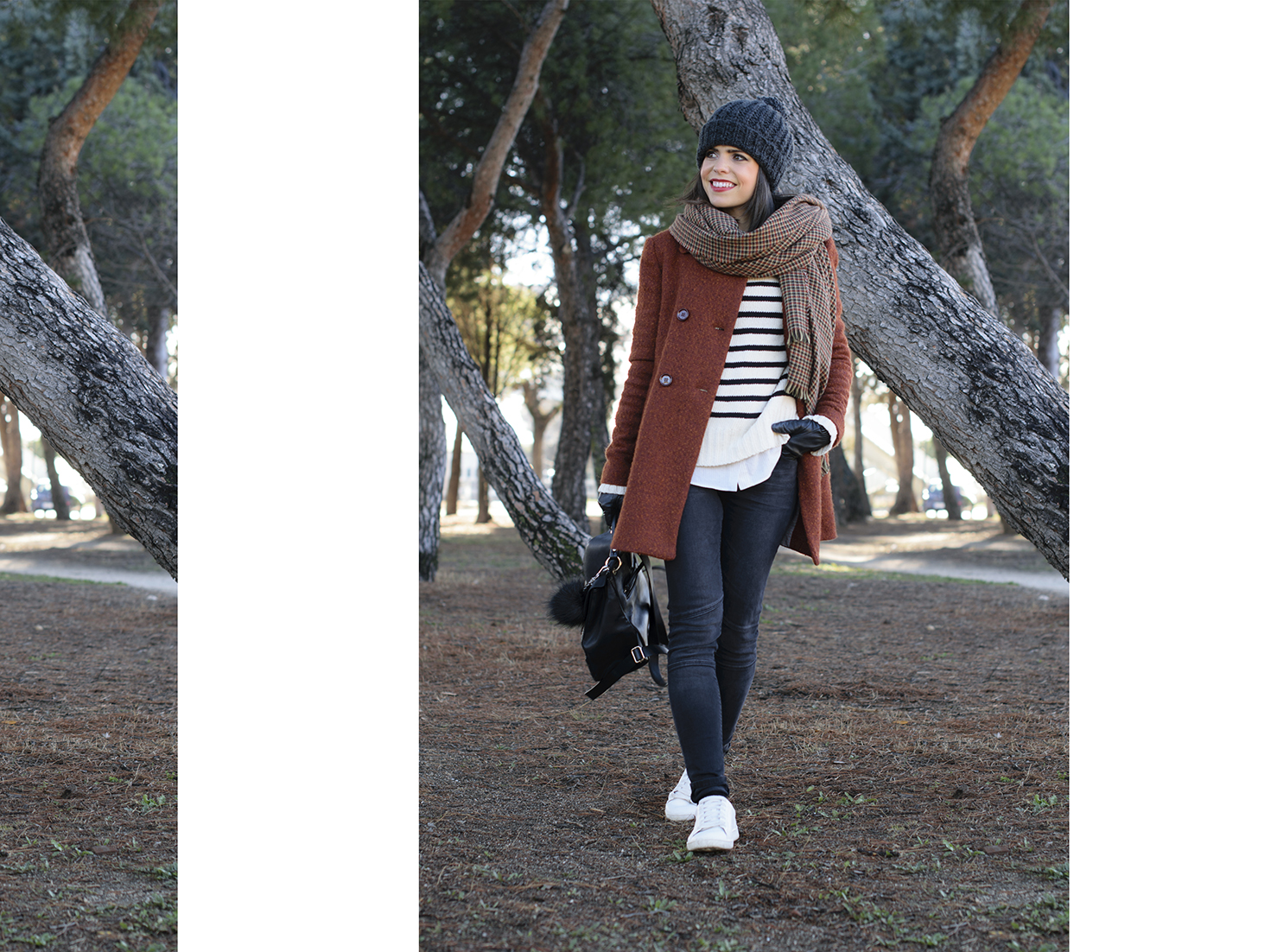Total look de Zara con Sneakers y abrigo en color caldera