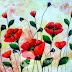 Lukisan Rumpun Bunga Merah MB-071