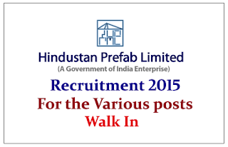 Hindustan Prefab Limited Recruitment 2015 for the post of Project Manager