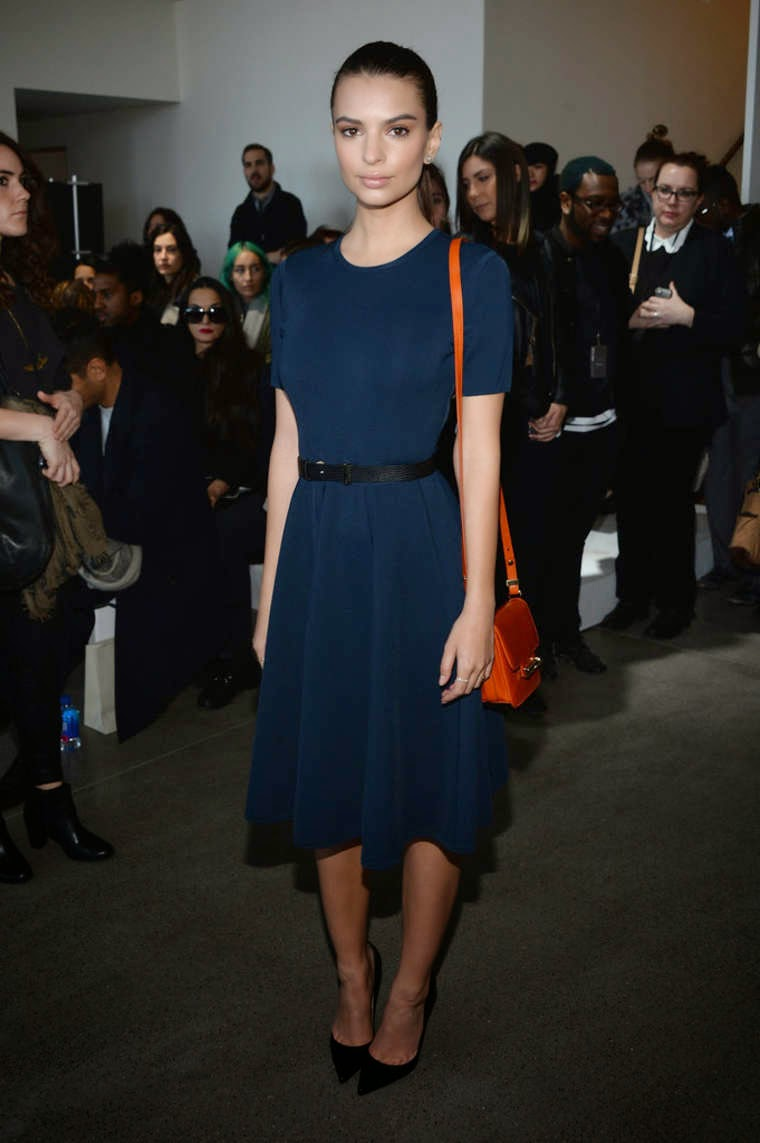 Emily Ratajkowski in a demure dress at the Jason Wu Fall/Winter 2015 Fashion Show in NYC