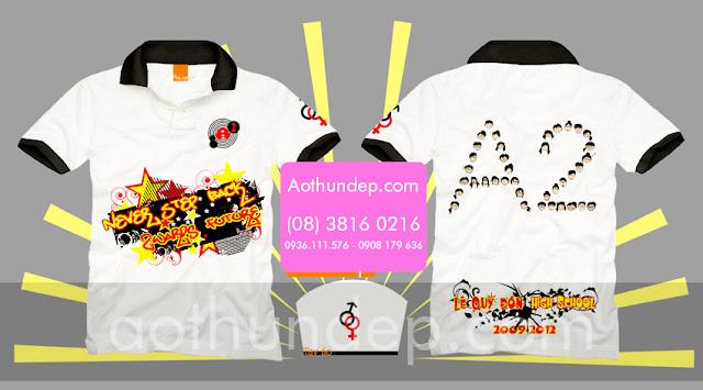Mẫu áo lớp trẻ trung màu trắng cổ trụ in hình tập thể lớp A2 - Mã AL43