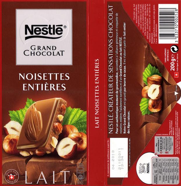 tablette de chocolat lait gourmand nestlé grand chocolat lait noisettes entières