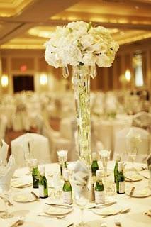 Decoracion con Flores Sumergidas Blancas, Centros de Mesa, parte 2