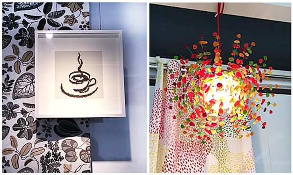 coffee bean artwork, coffee cup, candy lighting, design & dine event
