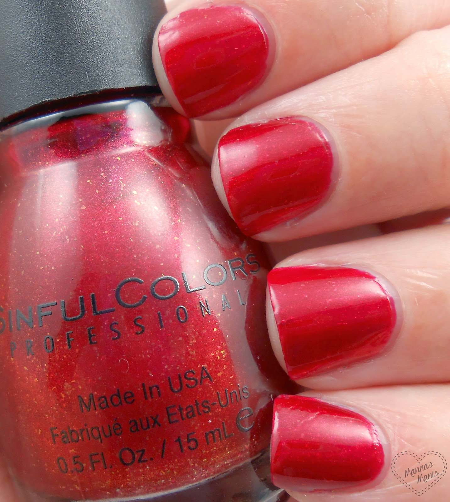 sinful colors sugar sugar, a red shimmer nail polish