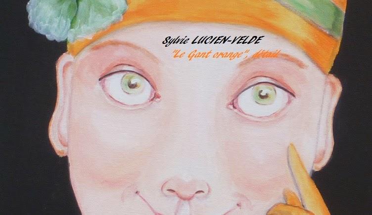 Le gant orange - détail des yeux - peinture acrylique de Sylvie Lucien-Velde