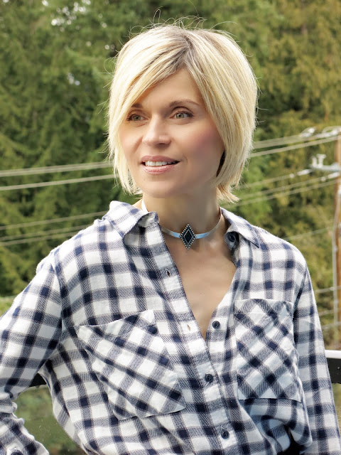 white-and-black plaid flannel shirt, collar necklace