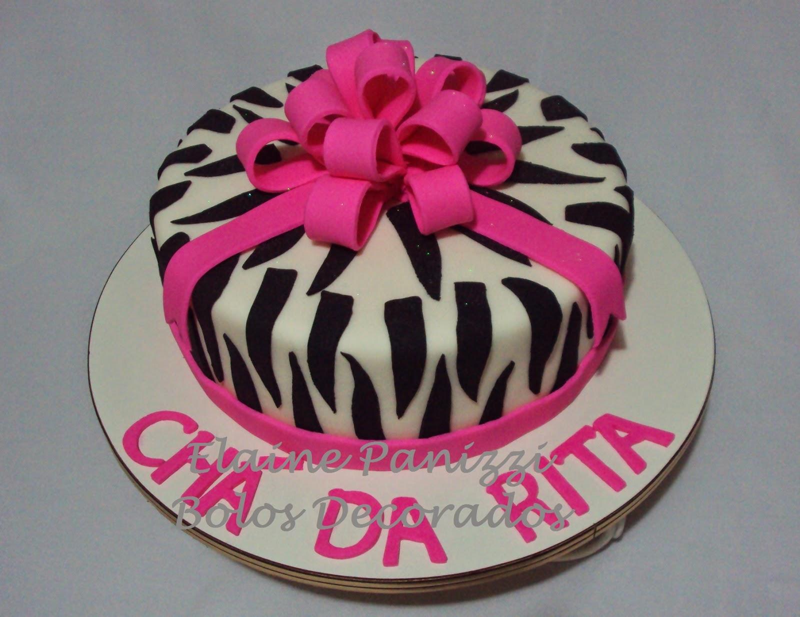 Muitas vezes Elaine Panizzi Bolos Decorados: Bolo zebra com laço rosa JH33