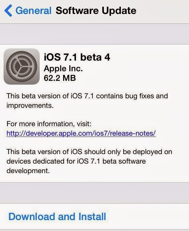 Download Apple iOS 7.1 Beta 4 via iTunes