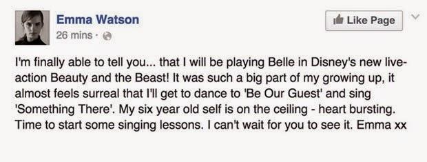 A atriz Emma Watson anunciou em seu twitter que fechou o contrato com a Disney Pictures