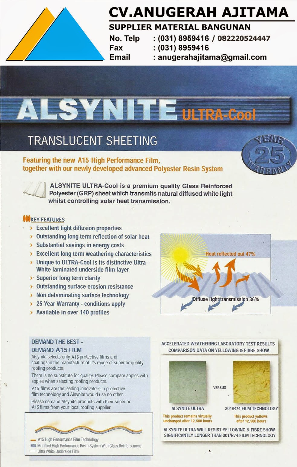 ATAP ALSYNYTE ULTRA COOL TRANSLUCENT ROOF