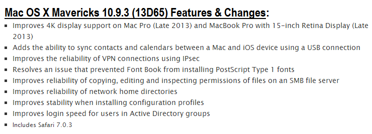 Mac OS X Mavericks 10.9.3 Build.13D65 Final Features and Changes